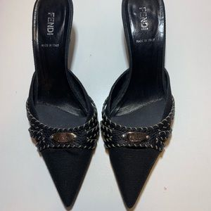 Fendi Selleria Black Pump Heels Pointed Size 10